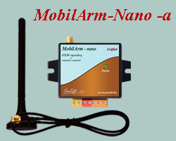 Economical price GSM signalling device for home security systems with aux. magnetic antenna. It can be connected to any burglary or any fire alarm center. It can send SMS to 4 mobile numbers and can also call them.
