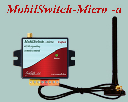 Remote controlling and signaling GSM device with enclosure, mostly for commercial purposes. Equipped with 2 digital inputs and 2 low-current relay outputs, supplied with external magnetic antenna.