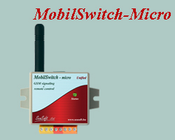 Remote controlling and signaling GSM device with enclosure, mostly for commercial purposes. Equipped with 2 digital inputs and 2 low-current relay outputs, supplied with built-in antenna.