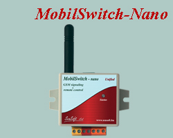 Remote controlling and signaling GSM device with enclosure, mostly for commercial purposes. Equipped with 1 digital input and 1 low-current relay output, supplied with built-in antenna.